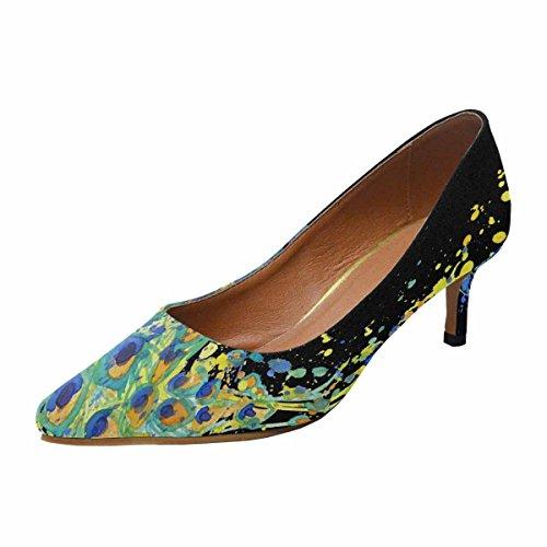Shoes Low Pointed InterestPrint Exotic Pump Heel Dress Peacock 1 Kitten Womens Toe Multi 5w5Iq8r
