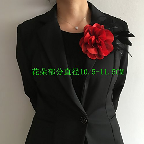 (Flower corsage opening party work clothes suit professional men women spend a large cloth corsage brooch shoulder feathers)