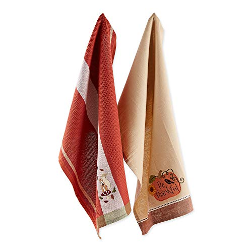 """DII Cotton Embroidered Dish Towels, 18x28"""" Set of 2, Decorative Oversized Kitchen Towels, Perfect Home and Kitchen Gift-Autumn Squirrel & Pumpkin -  CAMZ10737"""