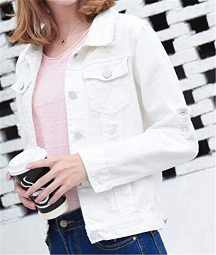 Single Manica Donna Corto Elegante Jeans White2 Lunga Tasche Bavero Giaccone Casual Giacca Cappotto Autunno Coat Moda Con Ragazza Giacche Giovane Breasted A5wnqYv
