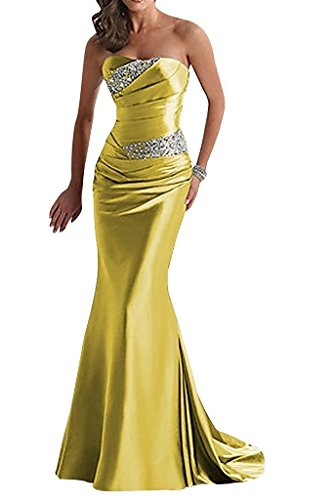 APXPF Women's Long Beaded Mermaid Evening Bridesmaid Dress Formal Prom Gown Yellow ()