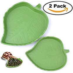 2 pack Leaf Reptile Food and Water Bowl for Pet Aquarium Ornament Terrarium Dish Plate Lizards Tortoises or Small Reptiles