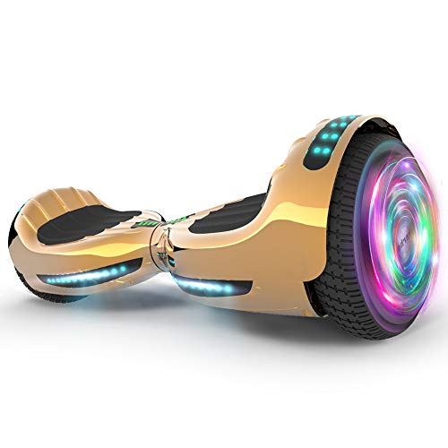 """Hoverboard UL 2272 Certified Flash Wheel 6.5"""" Bluetooth Speaker with LED Light Self Balancing Wheel Electric Scooter (Chrome Gold)"""