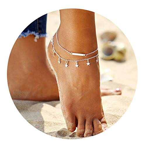LANG XUAN Bar Boho Foot Chain Silver Star Adjustable Beach Layer Anklet for Women -