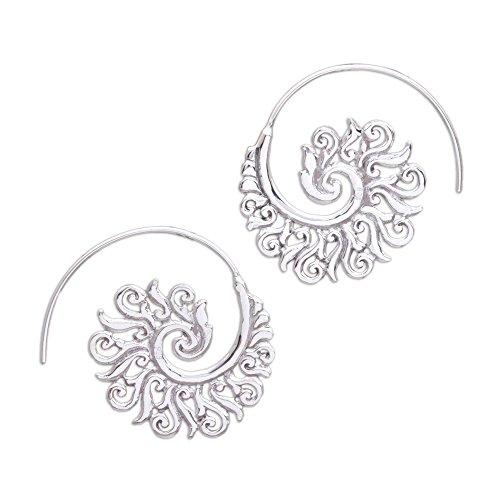NOVICA .925 Sterling Silver Paisley Half Hoop Earrings 'Spiral Beauty'