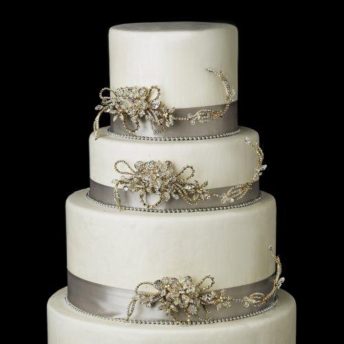 (Gold Clear AB Swarovski Crystal & Rhinestone Leaf Flower Wedding Cake Decorators)