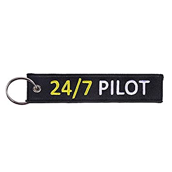 24//7 Pilot Double Sided Embroidered Fabric Keychains Tomcrazy Crew Keychain Pull to Eject Ring Key Chain Aviation Motorcycle Cars Tag Keychains Apparel Accessories 1X Pull to Eject Keychain