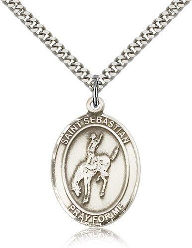 Sterling Silver St Sebastian Rodeo Pendant
