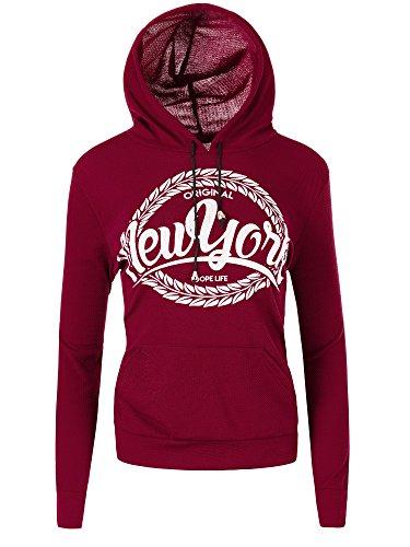 Diva-Jeans N099 Damen Pullover Kapuzenpullover Sweater Damenpullover Sweatshirt Hoodie Bordeaux