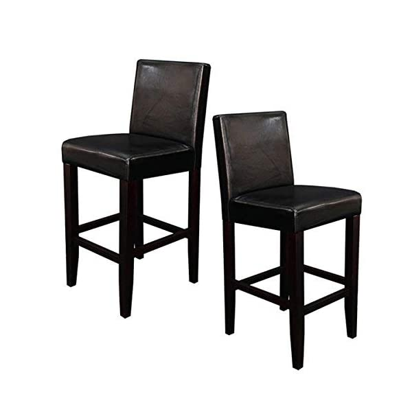Monsoon Pacific 222213 Villa Faux Leather Counter Stool (Set of 2), Black