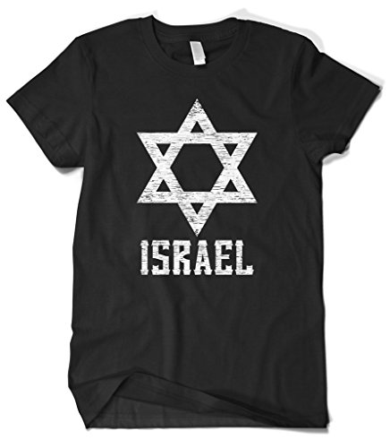 Cybertela Men's White Israel Star T-Shirt (Black, 3X-Large)