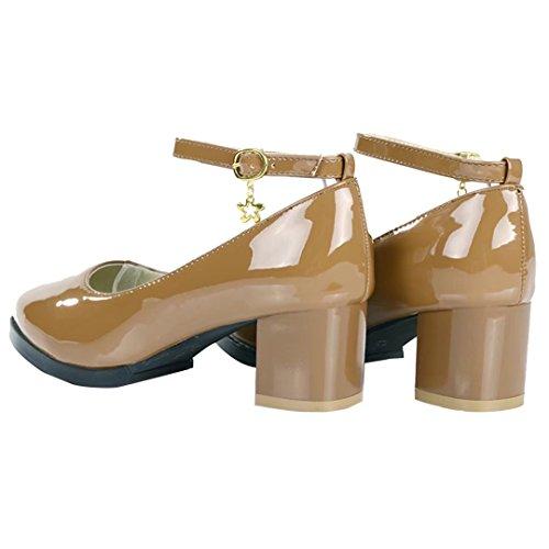 AIYOUMEI Damen Lack Pumps mit Knöchelriemchen mit Schnalle und 5cm Absatz Chunky Heel Schuhe Aprikose
