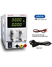 30V 5A DC Bench Variable Power Supply, 4-Digital LED Display, Precision Adjustable Regulated Switching Power Supply Digital with Alligator Leads US Power Cord