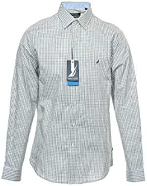 Men's Active Fit Dress Shirt, Grey Navy Grid