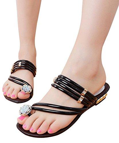 Vocni Womens Ladies Low Block Heel Diamante gem Evening Slip on Mules flip Flops Sandals Shoes Size Black warBxD
