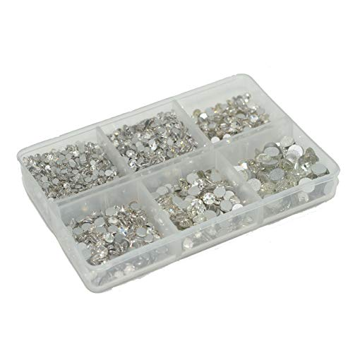 Queenme Upgrade 4200 Pieces Clear Nail Crystals Flatback Nail Art Rhinestones Round Glass Gems Charms Stones Mix 6 Sizes, for Nails Decoration Makeup Clothes Shoes SS6 8 10 12 16 20