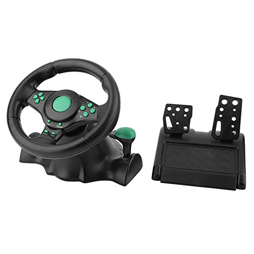 heaven2017 180 Degrees Rotation ABS Gaming Vibration Racing Steering Wheel with Pedals for Xbox 360 PS2 PS3