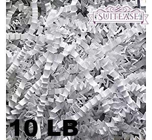 10 lb Crinkle Cut Paper Shreds Eco-Spring Fill, Filler for Packing Gift Baskets and Boxes~Box of 10 LB ~ White - Good Value Natural Paper Shred Filler (Wrap Spring Gift)