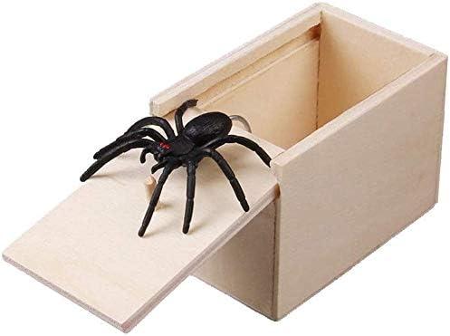 1pc Wooden Prank Spider Scare Box Case Joke Lifelike Funny Surprise Gag Toy
