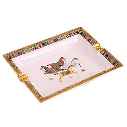 (Ozzptuu Ceramic European Style Cigarette Ashtray Rectangular Ash Tray Home/Office/Patio/Bar/KTV Ashtrays (Large))