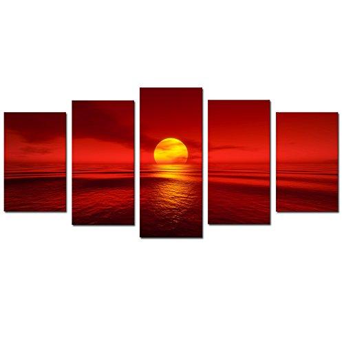 Sunset Painting Art - Cao Gen Decor Art-S52729 5 Panel Framed Wall Art Sunset Painting on Canvas