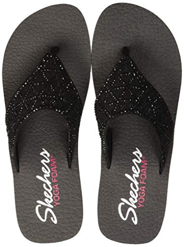 Skechers Women's Vinyasa-Glass Star-Laser Cut Rhinestone Flip Flop Black, 11 M -