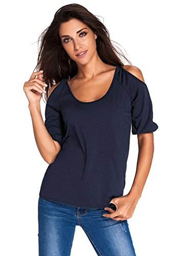 O&W Women Navy Blue Scoop Neck Cold Shoulder Oversize Top L