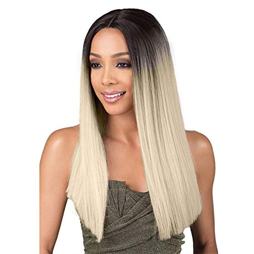 Gabrielle Ombre 14 Inch Short Bob Straight Hair Lace Frontal Wig Blonde 2 Tones Synthetic Dark Roots Natural Straight Replacement Hair Wigs For Women Heat Resistant Fiber Hair (14 Inch, 1B-613)