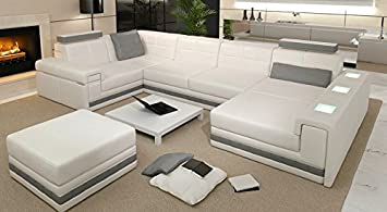 Eckcouch u form  Leder Wohnlandschaft Sofa weiß / grau Couch Ecksofa Ledersofa ...