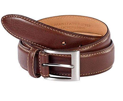 Kirkland Signature Italian Leather Full-Grain Leather Belt (brown, - Famous Belt Star Buckle