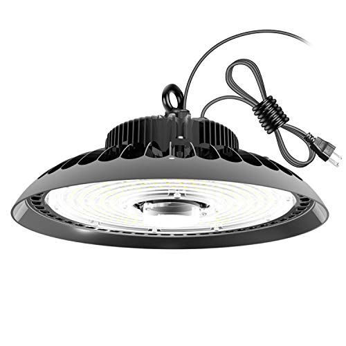 FaithSail 150W UFO High Bay LED Lighting, 16500lm, 5000K, Dimmable, US Plug, 600W Equivalent, Super Bright LED Warehouse Light, IP65 Waterproof, High Bay Shop Light Fixtures for Factory Garage Gym