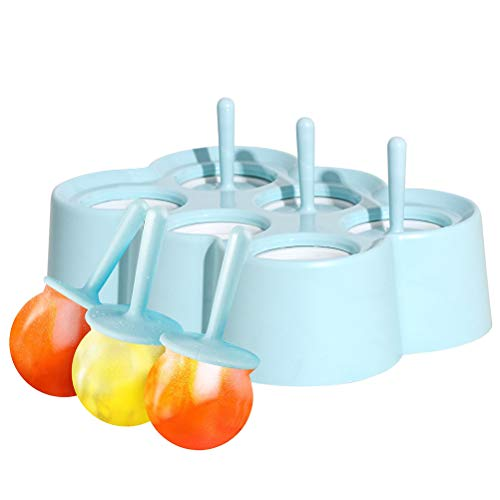Mini Ice Pop Molds, 6 Miniature DIY Popsicle Molds with Sticks and Drip-guards, Silicone Popsicle Makers for Lollipop, Baby Food and Ice Cream Tray, Blue