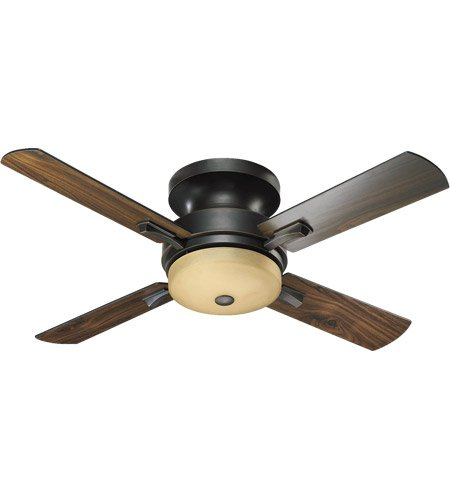 Quorum International 65524-95 Davenport 52-Inch Hugger Ceiling Fan, Old World Finish with Amber Scavo Glass and Walnut Blades