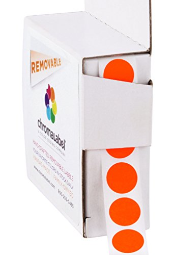 ChromaLabel 1/2 inch Removable Color-Code Dot Labels | 1,000/Dispenser Box (Fluorescent Red-Orange)