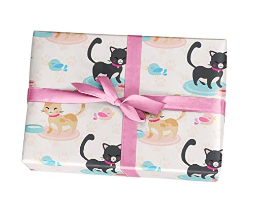 Cat wrapping paper sheets - 10 pack of 11x17 wrapping paper sheets - For birthday party, baby shower, supplies, decorations - Made in the USA by Custom Party Decorations