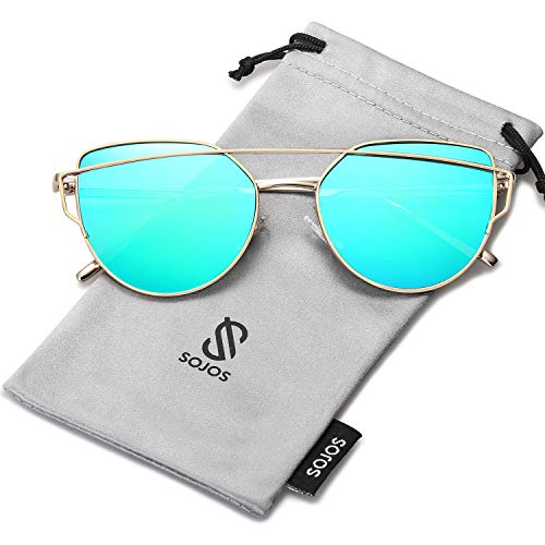 (SOJOS Cat Eye Mirrored Flat Lenses Street Fashion Metal Frame Women Sunglasses SJ1001 with Gold Frame/Green Mirrored)