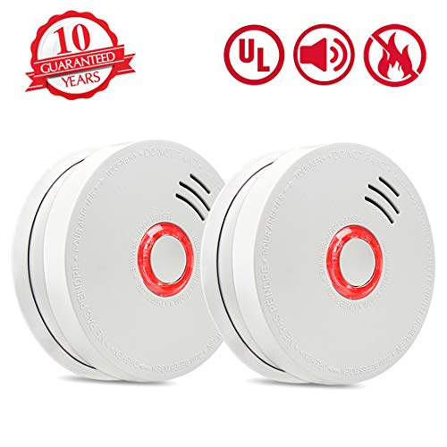- Smoke Detector Fire Alarm, 2 Packs Photoelectric Smoke Detectors with UL Listed, 9V Battery Operated Smoke Detector (9V Battery Included), 10 Years Life Time, Fire Safety for Home, Hotel, School etc
