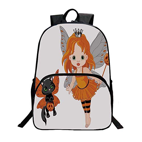 Halloween Fashionable Backpack,Halloween Baby Fairy and Her Cat in Costumes Butterflies Girls Kids Room Decor Decorative for Boys,11.8