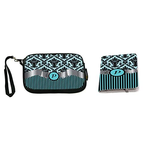 "Rikki Knight Letter ""P"" Sky Blue Damask Stripes Monogrammed Design Neoprene Clutch Wristlet with Matching Passport Holder"