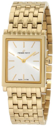 Pierre Petit Women's P-790F Serie Nizza Yellow-Gold PVD Square Case Bracelet Watch