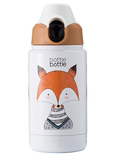 Bottlebottle 12oz Vacuum Insulated Stainless Steel Kids Water Bottle with Leak Proof Flip Lid, BPA Free (FOX, 12 OZ)