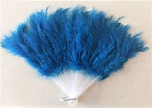 Antique Marabou Feather Hand Fan For Costume, Halloween, Party, Dance in Teal -