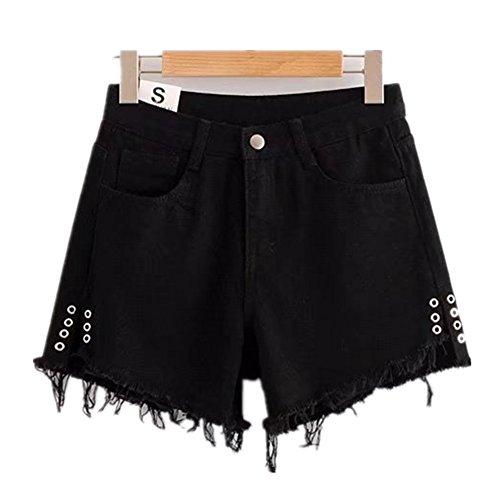 FuweiEncore Femme Shorts Dechir Vintage Jeans Court Taille Haute Asymtrique pour Et Noir