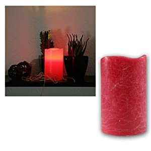 Star LED real wax candle, flickering colour : red ,ca. 12,5 cm x 7,5 cm,  battery operated, window box with ,,,