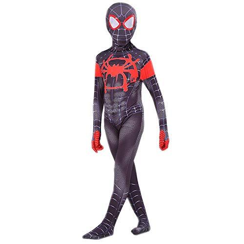 COSFANCY Kids Spider-Verse Cosplay Costume Jumpsuit (Miles Morales, Kids-XL(130-140cm))