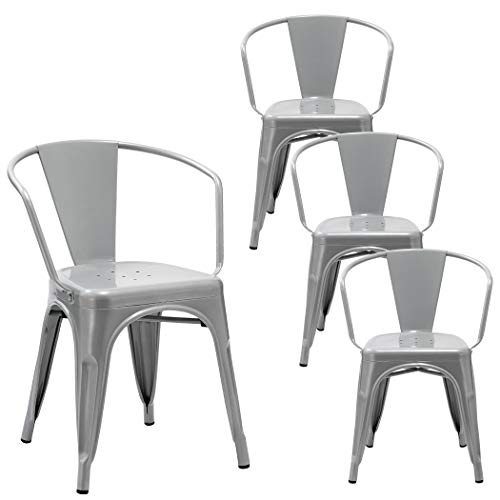 Duhome 4 PCS Metal Dining Chair with Armrest Stackable Industrial Style Restaurant Bistro Patio (Light Gray/Silver)