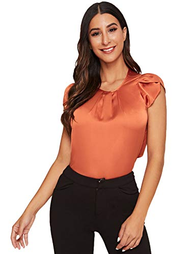 Milumia Women's Elegant Pleated Round Neck Petal Cap Sleeve Work Satin Blouse Top Shirt