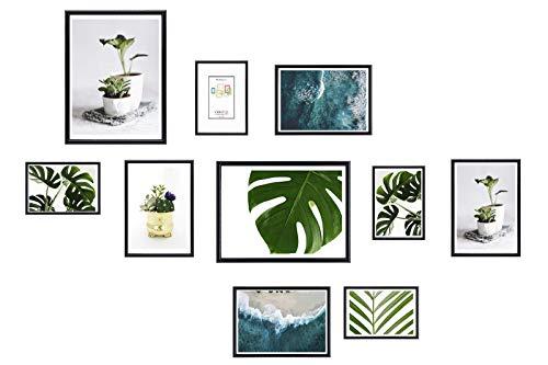 Chely Intermarket, Marcos multifotos Pared (Negro) Set de 10 Marcos Mod-312 (10x15cm(x4)-13x18cm(x4)-20x25cm(x2)) Portafoto de PVC con Cristal Vidrio