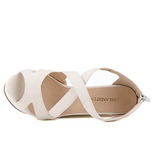 Suede Wedding Faux Shoes High Wedges Peep Sandals White Loslandifen Platform Womens Toe Heels vRxT11