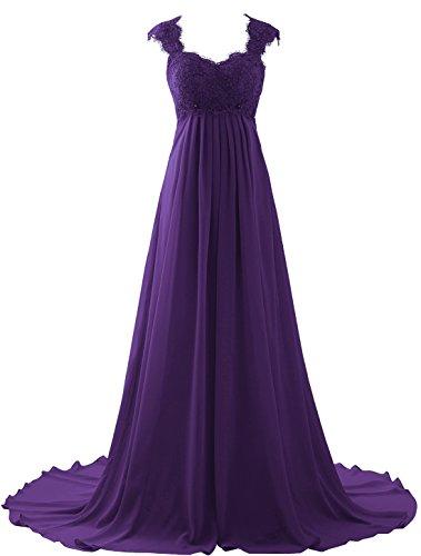Erosebridal Empire Waist Beach Wedding Dress Lace Chiffon Prom Dress Gowns Size 16 Purple